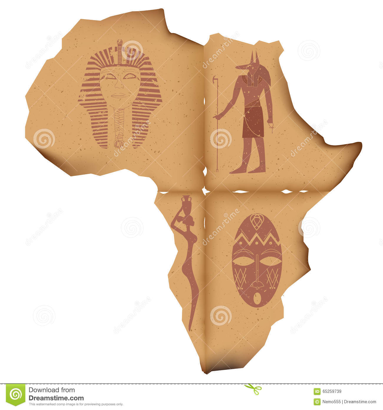 old-paper-shape-african-continent-images-piece-battered-charred-africa-faded-pharaoh-masks-anubis-65259739